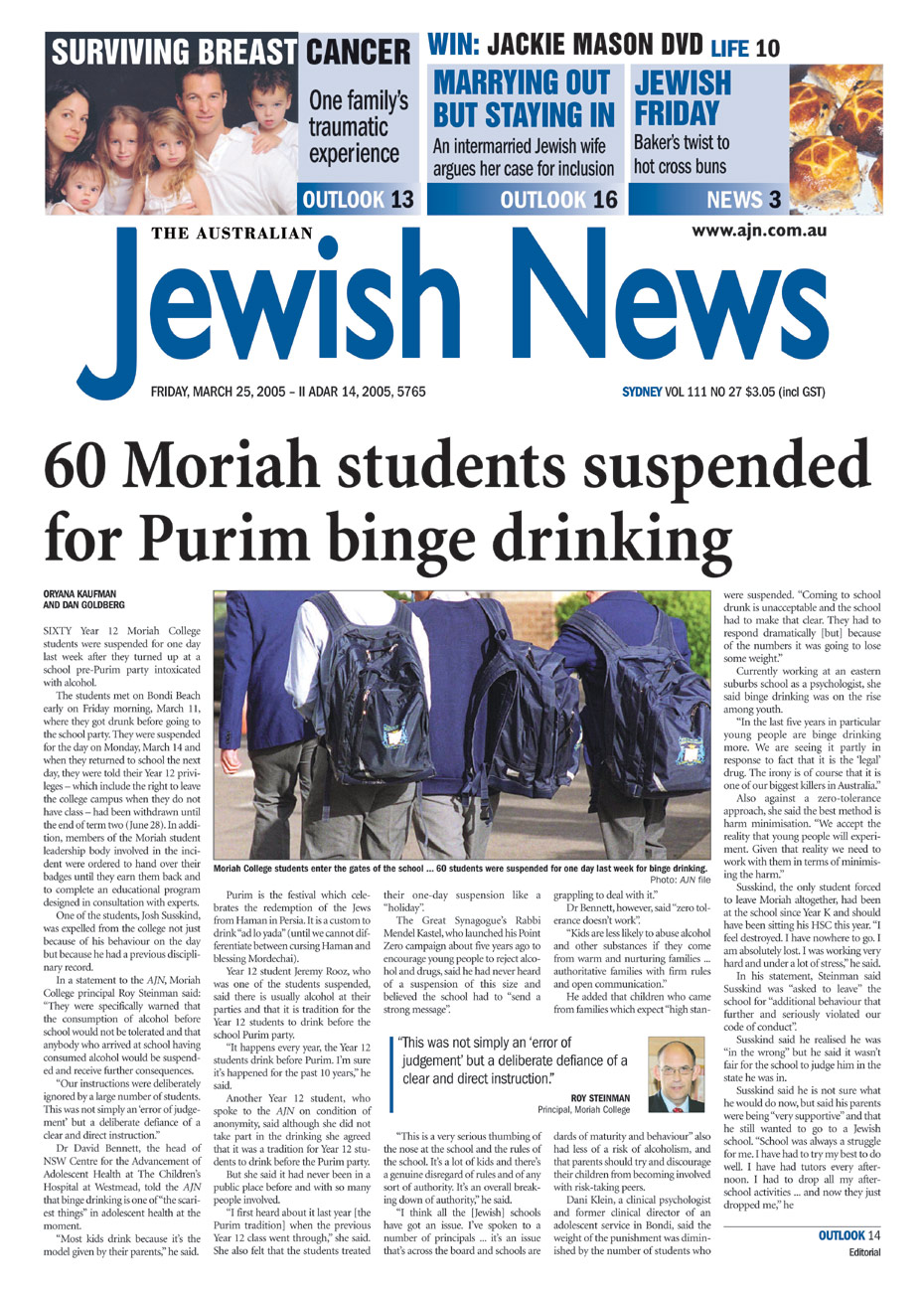 Sixty Year 12 Moriah students were suspended last week after they turned up to a pre-Purim party intoxicated with alcohol.